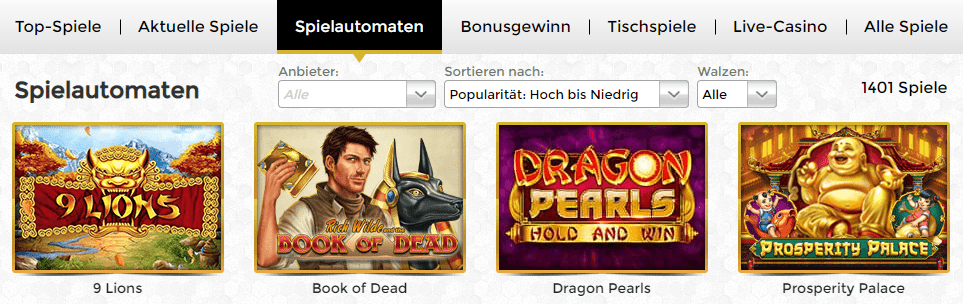 Online Spielautomaten Unique Casino